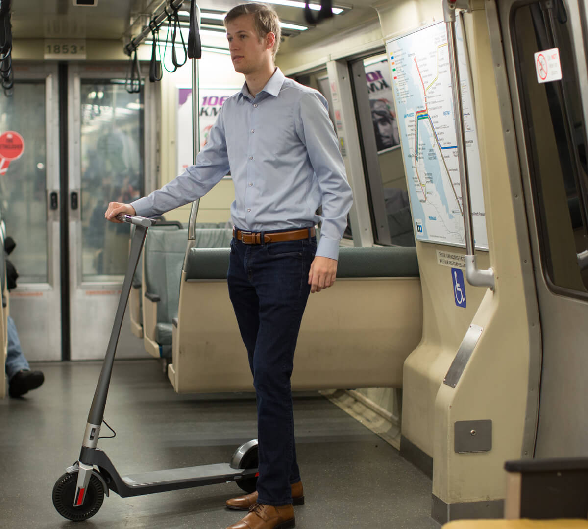 Commute with Unagi model one electric scooter
